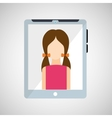 cartoon tablet and character woman vector image