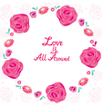 Floral Border With Love Is All Around Lettering vector image