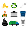garbage color icons on white background vector image