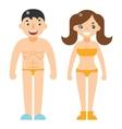 Happy man woman beach dress nude characters vector image