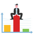 the businessman is on the chart and pulls the vector image