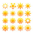 yellow sun icons isolated on white vector image vector image