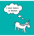 demotivation card with cartoon cute unicorn vector image