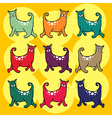 Cats with curly tail pattern vector image