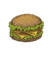 Colorful vintage style hand drawn cheeseburger vector image