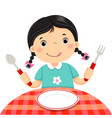 cute girl holding a spoon and fork with empty vector image