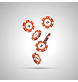 Red casino chips in air on white vector image