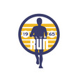 run club logo estd 1965 emblem with abstract vector image