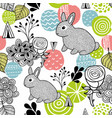 seamless pattern with spring time rabbits vector image