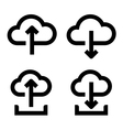 Cloud upload and download icon set vector image