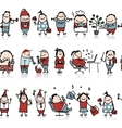 Funny peoples seamless pattern for your design vector image