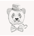 Sketch panda face with black bowler hat bow tie vector image vector image