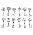 Vintage sketches of antique keys vector image vector image