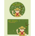 Boy scout with Camping Line Icons Label Background vector image