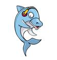 cartoon dolphin headphones vector image