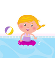 cute girl swimming in pool vector image