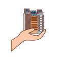 green energy hand holding building solar panel vector image
