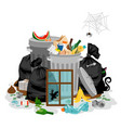 pile of garbage isolated in white littering waste vector image