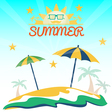 summer holiday card with beach sun glasses palms vector image