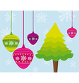 tree and christmas balls over blue background vector image