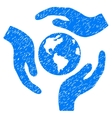 Global Care Grainy Texture Icon vector image