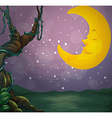 A giant tree and a sleeping moon vector image