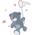 The stuffed toy bear cub and butterfly net cartoon vector image vector image
