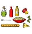 Italian pasta ingredients and food vector image
