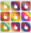 cursor icon Nine buttons with bright gradients for vector image