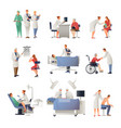 doctor and patient flat icons set vector image