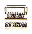 people sitting in cinema hall word cinema vector image