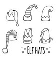 set of cartoon black and white elf hats vector image