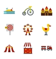 Rides icons set flat style vector image