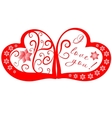 Red and rose hearts with title vector image