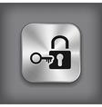 Lock icon - metal app button vector image