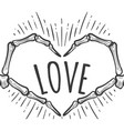 skeleton hand love sign on white vector image