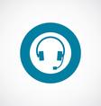 headphones icon bold blue circle border vector image