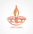 Artistic diwali diya isolated on white background vector image