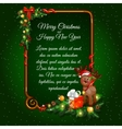 Christmas postcard with gifts deer and sample text vector image