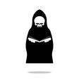 Death of reading book Grim Reaper in black cloak vector image