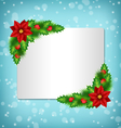 frame with poinsettia holly and pine on blue vector image