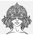 girl with hawk mask vector image