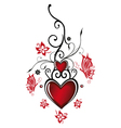 Hearts floral vector image