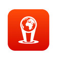 hologram globe icon digital red vector image