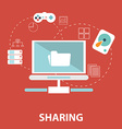 Icons for social network file sharing online vector image