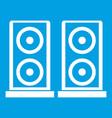 music speakers icon white vector image