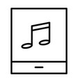 tablet with music note thin line icon pictogram vector image