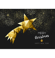 Merry christmas happy new year gold star triangle vector image