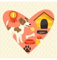 Background with cute dog icons and objects vector image