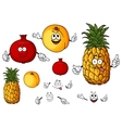 Fresh peach pineapple and pomegranate fruits vector image